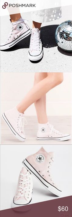 Light Pink Velvet High Top Converse Sold at Free People! NWT and box!! Perfect condition, I just never got around to wearing them. (: Open to offers but cheaper on M E R C A R I! Free People Shoes Sneakers