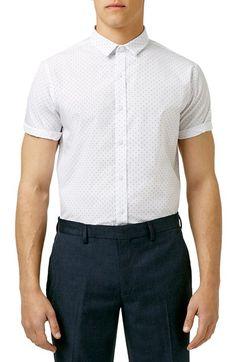 Topman Slim Fit Short Sleeve Dot Print Shirt