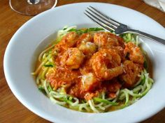 If I ever get a spiralizer, this is the first thing I'm making! Zoodles with Shellfish in a Tomato Cream Sauce