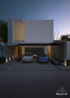 FACHADA PRINCIPAL: Casas de estilo minimalista por FERAARQUITECTOS #casaspequeñasmexicanas #Casasminimalistas