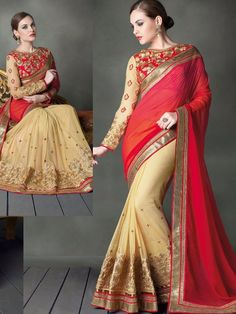 Graceful Red Colour Jiyara Georgette Saree