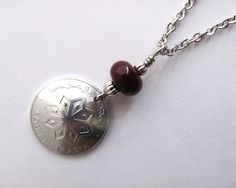 Coin Necklace South Arabia Vintage 1964 1 Fils Red by Hendywood, $20.00
