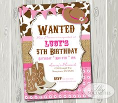 Pink Cowgirl Party Invitation — Shy Socialites