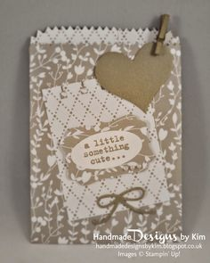 HANDMADE DESIGNS BY KIM handmade wedding favour bags using the new Mini Treat Bag Thinlits™ Dies, Something to Say stamp set and Something Borrowed Designer Series Paper made using Stampin' Up! products