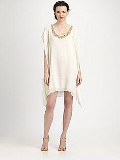 Rachel Roy Beaded-Neck Kaftan Dress