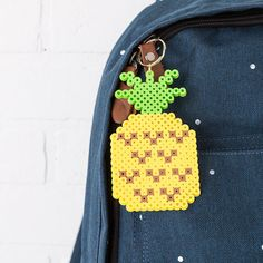 This fun pineapple keychain is easy to make from Perler beads. Add it to your backpack and you'll always be able to find your key!