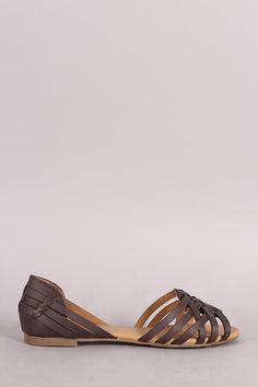Paprika Woven Peep Toe Flat Sandal