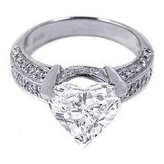 Heart shape Diamond Vintage Engagement Ring three sides diamond band