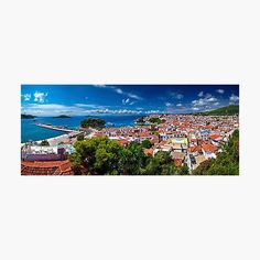 """""""Skiathos town panorama"""" by Hercules Milas   Redbubble Skiathos, Greek Islands, Hercules, Absolutely Stunning, Explore, Artist, Prints, Greek Isles, Artists"""