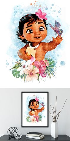 Turn Your Little Girls Ordinary Bed Into a Disney Princess Bed - Disney Princess Bedding, Disney Princess Art, Disney Art, Moana Disney, Disney Girls, Watercolor Disney, Watercolor Art, Princess Moana, Royal Princess