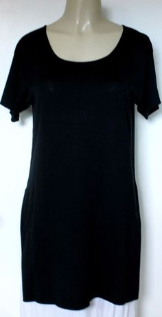 EUC Go Silk Womens Top Blouse Tunic Shirt Black Boat Neck Long Short Sleeve Knit #GoSilk #Blouse #Any