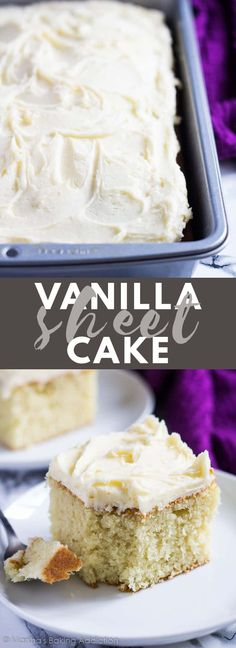 Perfect Vanilla Sheet Cake - Vanilla Desserts- Perfect Vanilla Sheet Cake Perfect Vanilla Sheet Cake - Deliciously moist and fluffy vanilla cake baked in a rectangle pan, and topped with scrumptiously creamy vanilla buttercream frosting! Moist And Fluffy Vanilla Cake Recipe, Homemade Vanilla Cake, Vanilla Recipes, Homemade Cake Recipes, Vanilla Desserts, Homemade Sheet Cake Recipe, Recipe Sheet, Baking Desserts, Baking Recipes