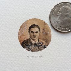"""Day 57/100 (14/25 #freefridays) : """"There is nothing to writing. All you do is sit down at a typewriter and bleed."""" - Ernest Hemingway. 27 x 27 mm.  SOLD. #miniature #watercolour #paintingsforants #ernesthemingway #author"""