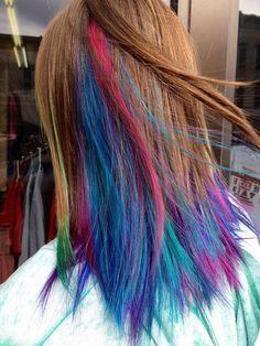 Multicolored underlayer on Sadie. via Flickr.