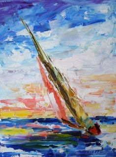 Catching the Colors SailBoat Lake Waterscape Sunset Art Oil Painting by Texas Artist Laurie Pace, painting by artist Laurie Justus Pace