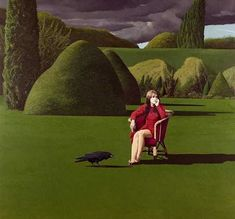 The Raven (1971) by David Inshaw. Model is girlfriend Gillian Pollard, also in The Badminton Game and She Did Not Turn.