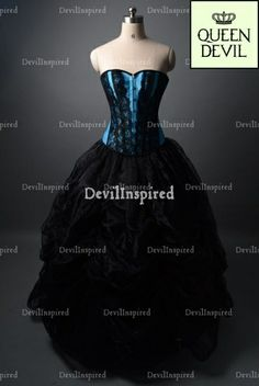 Black and Blue Gothic Corset Burlesque Ball Gown Prom Dress