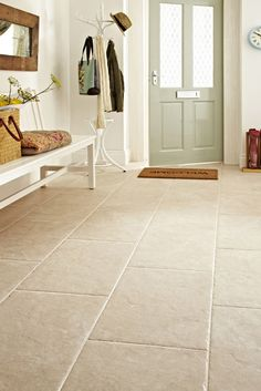 Devon Bone from Topps Tiles - potential for the dining room floor Nice front door for light and flooring Hall Flooring, Living Room Flooring, Bathroom Flooring, Kitchen Flooring, Timber Flooring, White Flooring, Flooring Ideas, Tiled Floors, Travertine Floors