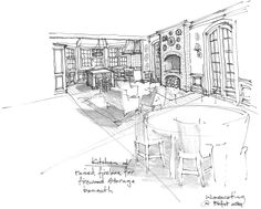 Kitchen Perspectives by J Wilson Fuqua & Assoc. Sketch 2, Perspective, Louvre, Architecture, Dining Rooms, Building, Interior, Kitchens, Room Ideas