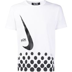 Black Comme Des Garçons x Nike T-shirt ($150) ❤ liked on Polyvore featuring tops, t-shirts, white, unisex t shirts, cotton tees, white tee, comme des garcons t shirt and comme des garçons