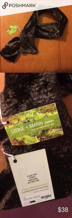 Handmade NWT Faux Fur Persian Lamb no tie muffler Handmade NWT Faux Fur Persian Lamb no tie muffler, just tuck and go, dark brown. stone + mann design Accessories Scarves & Wraps