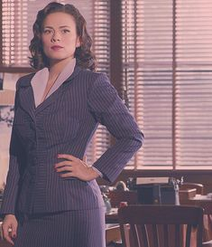 Pinstripes have never looked so good. | 17 Times Agent Peggy Carter's Outfits Were So Good It Actually Hurt