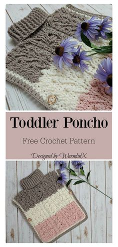 Baby Knitting Pattern Hugs and Kisses Toddler Poncho Free Crochet Pattern Crochet Baby Shawl, Crochet Baby Blanket Free Pattern, Pull Crochet, Poncho Knitting Patterns, Crochet Patterns, Crochet Ideas, Crochet Toddler Sweater, Skirt Patterns, Coat Patterns