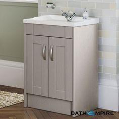 610mm Oxford  Stone Grey Double Door Basin Cabinet - Floor Standing - BathEmpire