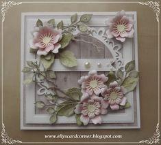 Elly's Card- Corner Birthday Greetings, Birthday Cards, Shabby Chic Cards, Flower Cards, Potpourri, I Card, Stencil, Frame, Flowers