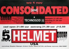 Doornroosje Nijmegen, poster Consolidated, Technogod-Helmet, 1992