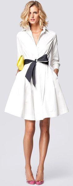 Carolina Herrera Spring. Love this classic shirt dress - not sure if white is the best color for me, though. Carolina Herrera I vores blog meget mere information http://storelatina.com/ #de #prstene #ఎంగేజ్మెంట్ #hôn