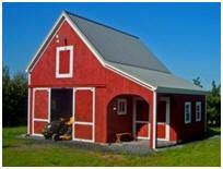 This Cold Spring Barn shelters a tractor and equipment for an apple orchard in Vermont. The builder added an attractive, shady porch. The standard plans can be purchased at BackroadHome.net for $35.00
