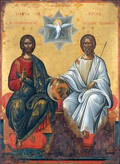 The Holy Trinity. Possibly by Michael Damaskenos. The Antivouniotissa museum, Corfu, Greece Religious Icons, Religious Art, Religious Images, Byzantine Art, Byzantine Icons, Stained Glass Church, Christian Artwork, Angel Images, Religious Paintings