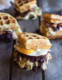 Brunch wedding food idea - waffle, breakfast sandwich {Courtesy of Alaska From Scratch}
