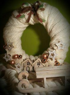puchaty...ciepły..bożonarodzeniowy wianek