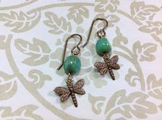 Czech Glass Bead and Dragonfly Earrings by JewelryCharmers on Etsy, $18.00