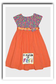 Vestido de nena: crochet y tela