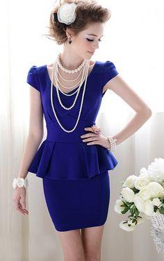 Forever Classy Lady. Royal Blue Peplum Dress. Work Dress Cocktail | GlamUp - Clothing on ArtFire