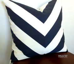 Wide Stripe Chevron Navy-Pillow Cover by thfabricate on Etsy Dark Wood Furniture, Sunroom Furniture, Navy Pillows, Navy Chevron, Fluffy Pillows, Wide Stripes, Home Decor Fabric, Designer Pillow, Stripes Design