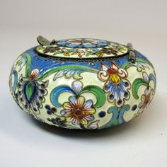 Antique Russian silver and enamel snuff box