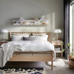 IKEA BJÖRKSNÄS bed frame Made of solid wood, which is a hardwearing and warm natural material. Murphy-bett Ikea, Cama Ikea, Ikea Malm, Cama Murphy Ikea, Murphy Bed Plans, Murphy Beds, Bed Slats, Bed Base, Adjustable Beds