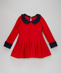 Take a look at this Red & Navy Pleated Dress - Toddler & Girls by Sweet Charlotte on #zulily today!
