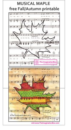 Doodling on manuscript paper from The ImaginationBox - Download this lovely Fall/Autumn 'Musical Maples' free printable worksheet
