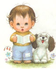 Boy with Dog - Ruth Morehead