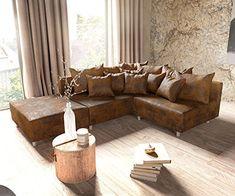 Couch Clovis modular - Ecksofa, Sofa, Wohnlandschaft & Modulsofa (Braun, Ecksofa Links mit Hocker) Modul Sofa, Home Interior, Loft, Table, Furniture, Home Decor, Couches, Products, Brown Leather Sofas