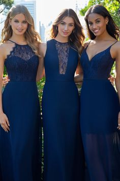 a67a640d2af8 Style 5862 Hayley Paige Occasions bridesmaids dress - Navy lace A-line  bridesmaids mini dress, curved V-neckline, natural waist with removable  floor length ...