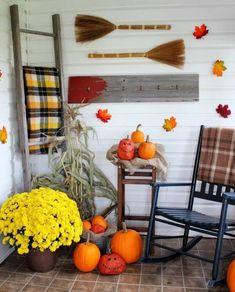 Rustic Wood, Bright Pumpkins & Hearty Mums Autumn Decorating, Porch Decorating, Decorating Ideas, Decor Ideas, Diy Ideas, House Front Porch, Front Porches, Fall Porches, Primitive Homes