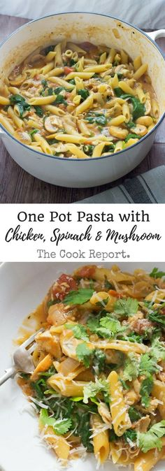 This one pot pasta recipe is ready in 30 minutes and makes a perfect weeknight meal. Add whatever veg you like to make this even healthier! Modify whole wheat pasta and almond milk Pasta Pizza, Chicken Pasta, Mushroom Chicken, Mushroom Pasta, One Pot Chicken, Chicken Alfredo, Healthy Pastas, Healthy Recipes, Healthy One Pot Meals