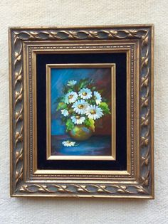 Vintage Set of Two Floral, Daisy, Still Life Paintings, Gold Ornate  Frames, Hollywood Regency, French Country, Cottage Decor, Shabby Chic