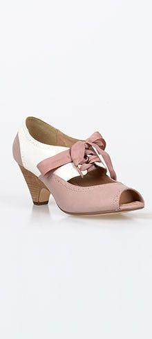 Pink & Cream Ribbon Tie Peep Toe Julia Pumps